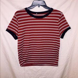 Maroon Short Waisted Striped Shirt.
